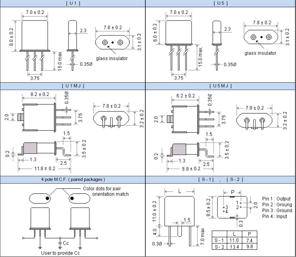 UM-1晶体滤波器产品尺寸图