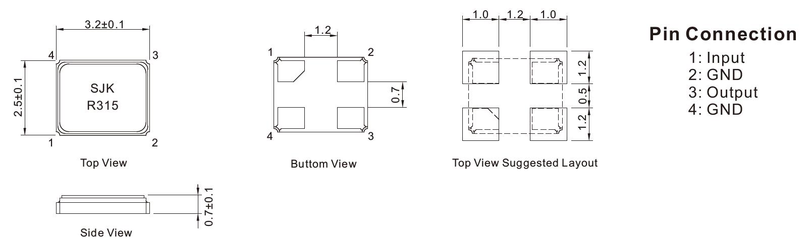 SMD-3225声表晶振尺寸图