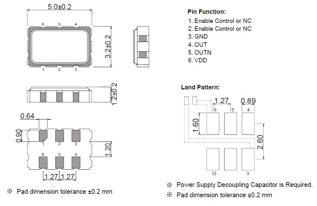 TXC-CE-SMD-5032-LVDS有源晶振尺寸图
